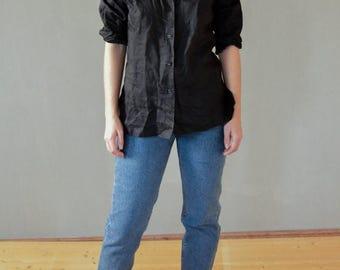 SALE Black Linen Shirt Vintage 80's womens button front shirt