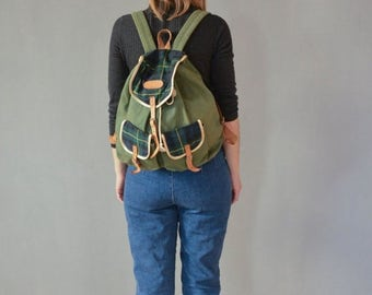 SALE Vintage backpack canvas and leather checkered backpack rucksack