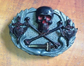 Pirate Skull Goth Winged Heart Dagger Belt Buckle