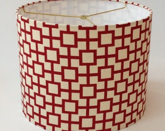 "Medium Drum Lamp Shade - Red Geometric Linen Fabric 14"" D X 11"" H - Ready to Ship!"