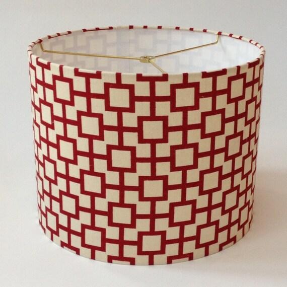 medium drum lamp shade red geometric linen fabric 14 d x 11 h. Black Bedroom Furniture Sets. Home Design Ideas