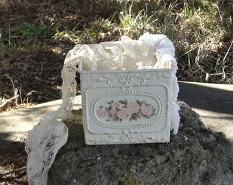 Shabby cottage chic plant box, metal box, shabby pink roses, vintage, chippy distressed decor