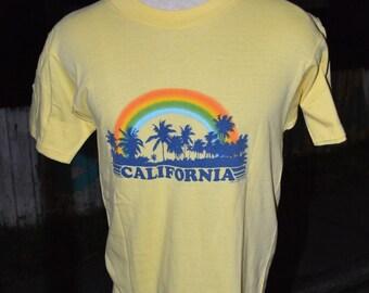 Vintage 1980's California Palm Trees and Rainbow Tourist shirt!!!