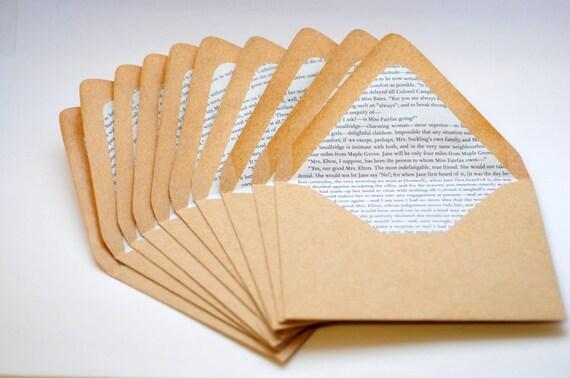 Jane Austen Book Lined Envelopes // Set of 10 // Classic Books // Kraft Envelopes // Save the Date // Invitation Envelopes // Paper Crafting