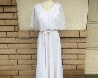 Vintage 70s White Grecian Blouson Maxi Dress w/Flutter Sleeves S-M