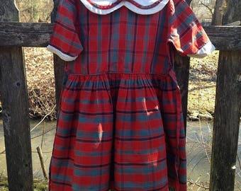 Girls Mod Plaid Day Dress Peter Pan Collar Dress Size 5/6 AS IS