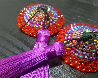 Nipple tassels ultra sparkley rhinestoned ab colour mix red and pink