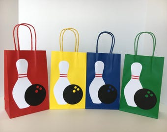 Bowling Party - Paper Goodie Bags - Favor Bags - Set of 8 bags