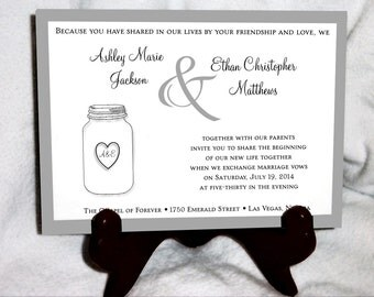 Mason Jar Cyber Monday Sale Wedding Invitations Set.  Valued at over 600 dollars