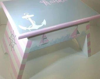 Wood Step Stool - Pink and Grey Nautical Footstool - Nautical Step Stool - Pink and Grey - Nursery Step Stool - Bathroom Step Stool