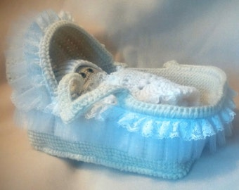 Crocheted Doll Moses Basket with Bed sheet, Blanket, Pillow, Lacey Little Doll Carrier, carry cot, crib, Play Set, Baby Crib, doll bed