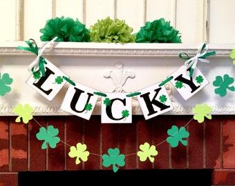 St Patricks Day Decor /LUCKY Banner /St Patricks Day Banner /St Pattys Decorations /Holiday Garland Photo Prop