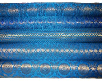 Bundle/Stack of Peacock blue Indian brocade/set of five fat quarters/perfect for crafting/sewing