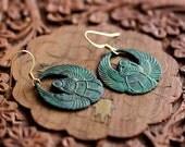 Egyptian Scarab Earrings Patina Scarab Dangle Earrings Verdigris Scarab Dangles Egyptian Earrings - E329