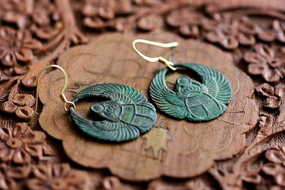 Egyptian Scarab Earrings Patina Scarab Dangle Earrings Verdigris Scarab Dangles Egyptian Earrings - E329
