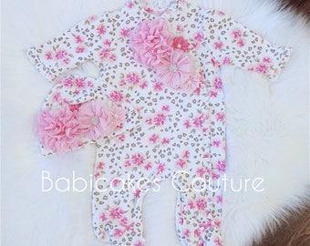 Newborn Footie, Newborn Take Home Outfit, Footie Hat, Newborn Winter Outfit, Leopard Baby Footie, Floral and Leopard Footie, Valentine Baby