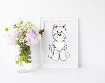 Dog Portrait, West Highland Terrier Dog Art Print, pet portrait, west highland terrier, westie gift, dog art print, ideal for dog lovers