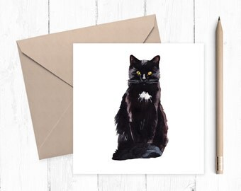 Black Cat Blank Greeting Card, cat card, blank card, black cat, any occasion, ideal for cat lovers