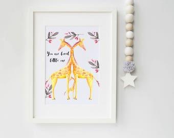 Giraffe Art Print, art print, giraffe print, ideal for giraffe lovers, nursery print, ideal for baby shower gift