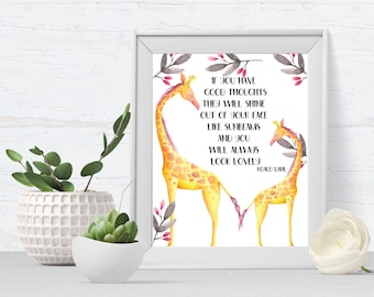Roald Dahl Giraffe Art Print, art print, giraffe print, ideal for giraffe lovers, roald dahl, nursery print, gift for new parents