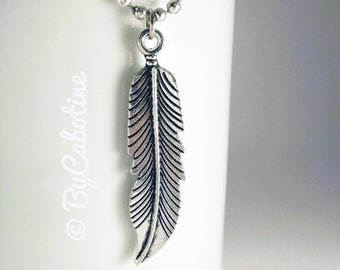 """Necklace """"Plume"""" in silver tone nickel-free with ball cable chain"""