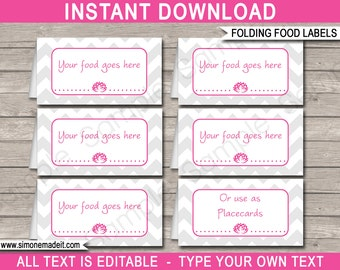 Yoga Food Labels - Yoga Theme Party - Food Buffet Tags - Yoga Placecards - Printable Party Decorations - INSTANT DOWNLOAD with EDITABLE text