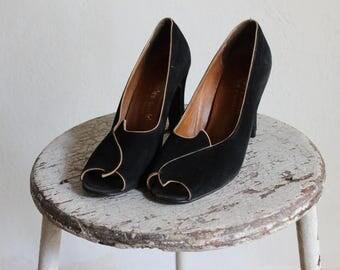 Vintage Cibel Black Suede Heels / Black & Gold Shoes