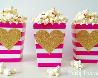 popcorn boxes pink and white stripe treat boxes treat container day galentine