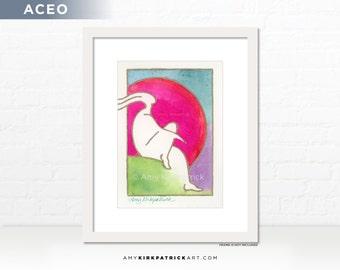 Pink Moon Painting, Original ACEO Watercolor Painting, Dreamer Art, Miniature Figure Painting, ACEO ATC Original, Pink Moon Dreamer