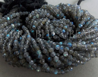 """Full 13"""" strand LABRADORITE faceted gem stone round beads 4mm blue green gold flash"""