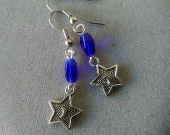 Star and Moon Earrings with Cobalt Blue Czech Glass Beads