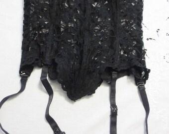 Black Lace Bustier TRASHY Lingerie Merry Widow Corset Sexy Satin Trim Bow Strapless Size Medium