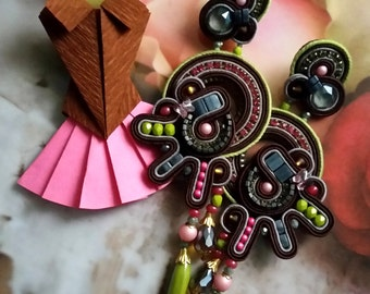 Soutache earrings / brown, pink, olive, grey