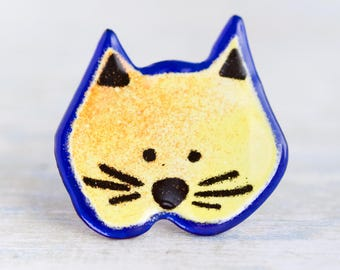 Cat lapel pin - Yellow and Cobalt Blue Glass Brooch