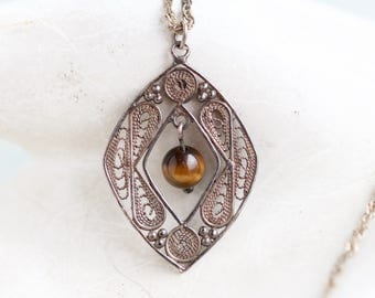 Silver Filigree Necklace - Sterling Silver Diamond Shaped Pendant with Tiger Eye Stone on Chain - Vintage Oxidized Jewelry