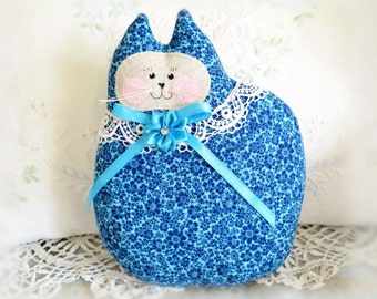 Cat Pillow Doll Cloth Doll 7 inch Cat, Royal Blue and Teal, Primitive Soft Sculpture Handmade CharlotteStyle Decorative Folk Art
