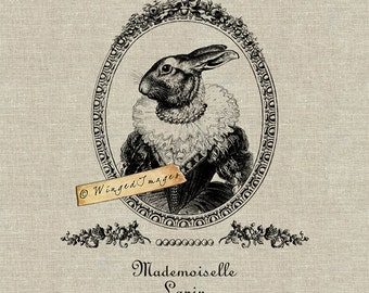 Mademoiselle Lapin. Instant Download Digital Image No.307 Iron-On Transfer to Fabric (burlap, linen) Paper Prints (cards, tags)