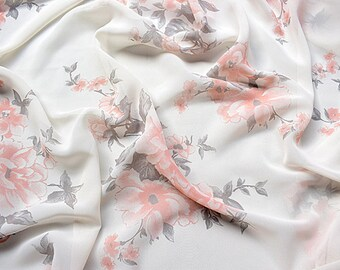 """57""""width new arrival antiwrinkle  chinese folk orange red flower  white chiffon fabric by yard"""