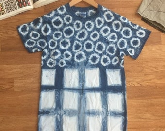 Adult S shibori and Indigo dyed cotton tee