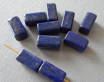 10pcs-12mmX6mmX6mm-Lapis Lazuli gemstone bracelet beads necklace beads set, lapis cuboid beads