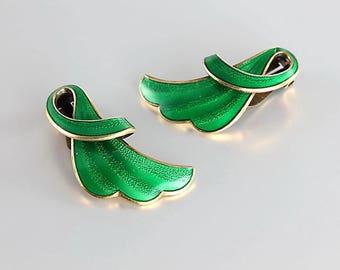 Finn Jensen Norway sterling Earrings, Green Enamel sterling silver, vintage Nordic jewelry