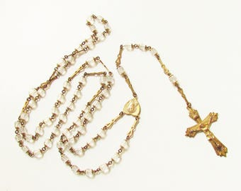 Vintage Crystal Bead Gold Filled Cross Rosary 1940s Prayer Beads
