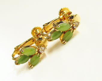 Vintage Nephrite Jade Clear Rhinestone Clip On Earrings 1960s Gold Filled