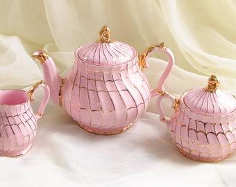 Pink Gilded Sadler Teapot Creamer Lidded Sugar Tea Set Cottage Chic
