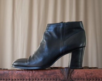 minimal leather booties - 9 women