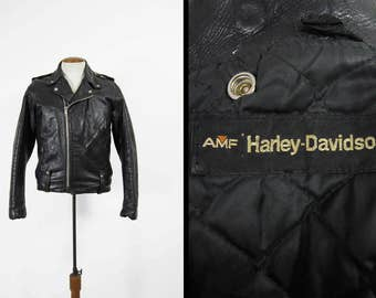 Vintage Harley Davidson Motorcycle Jacket AMF Black Leather Biker Coat - Size Medium