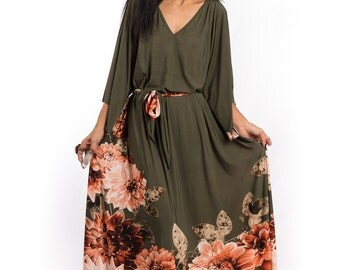 Maxi dress, floral dress, kaftan dress, kimono dress, plus size dress, loose fit dress, forrest green dress : Funky Elegant Collection No.4