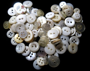 Vintage white buttons White Button destash.  Vintage sewing supply.Over 100 white vintage buttons. Lot of buttons