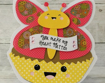 Butterfly Cupcake Shaped Card, You Make My Heart Flutter