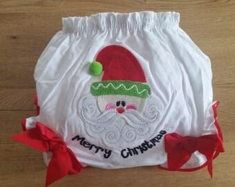 Infant bloomers Christmas diaper cover Santa Medium